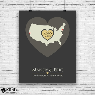 Distance Apart Personalized Long Distance Relationship Print