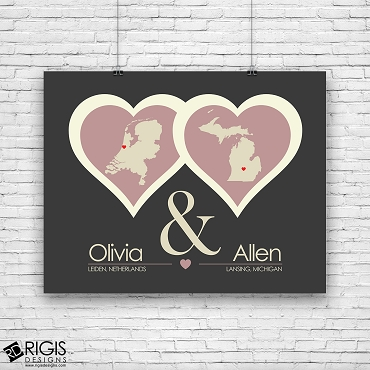 Two Hearts Personalized Long Distance Relationship Print