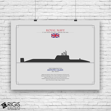 Royal Navy Ship Silhouette Astute Class Fleet Submarine SSN