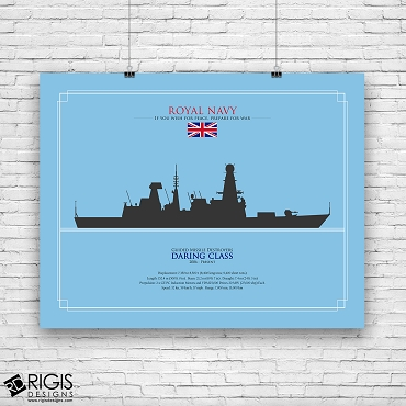 Royal Navy Ship Silhouette Daring Class Guided Missile Destroyer