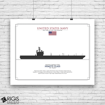US Navy Ship Silhouette Nimitz Class Aircraft Carriers CVN
