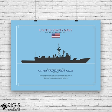US Navy Ship Silhouette Oliver Hazard Perry Guided Missile Frigate FFG