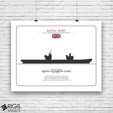 Royal Navy Ship Silhouette Queen Elizabeth Class Aircraft Carrier