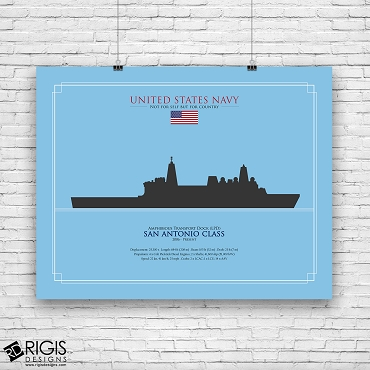 US Navy Ship Silhouette San Antonio Class Amphibious Transport Dock LPD