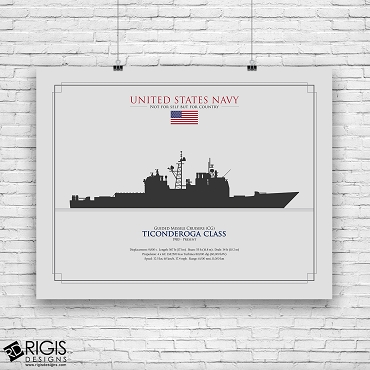 US Navy Ship Silhouette Ticonderoga Class Guided Missile Cruisers CG