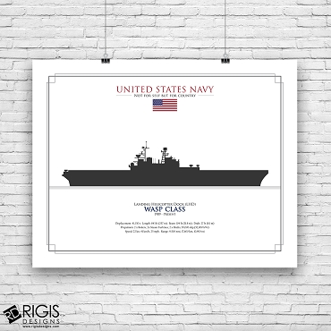 US Navy Ship Silhouette Wasp Class Landing Helicopter Dock LHD