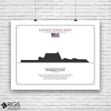 US Navy Ship Silhouette Zumwalt Class Guided Missile Destroyers DDG